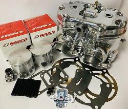 Banshee Polish Polished Cylinders Head Stock Top End Wiseco Pistons Rebuild Kit