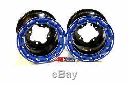 DWT G3 Black Blue Rear MX Beadlock Rims 8 8x8 4/115 Yamaha YFZ450 450R Banshee