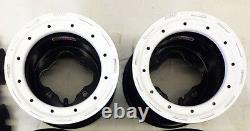 Dwt G3 Rear 8 Beadlocks Wheels Rims White Rings Yamaha Yfz450 Banshee Raptor