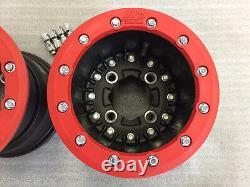 Hiper Cf1 Rear 10 Beadlock Wheels Red Yamaha Yfz450 Banshee Raptor 700 660 250