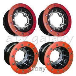 Hiper Tech 3 Rims 10 Front 9 Rear 10x5 9x8 RED Yamaha Banshee 350 87 88 89 90