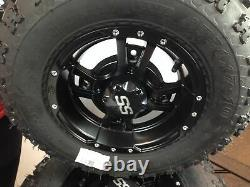 SET 4 YAMAHA BANSHEE WARRIOR 350 BLACK ITP SS112 Rims Qaudboss Tires Wheels kit