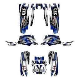 Yamaha Banshee 350 graphics custom full coverage sticker kit #4444 Blue Tribal