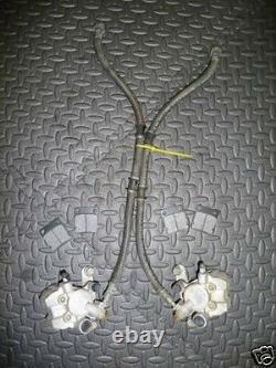 Yamaha Banshee OEM factory front brake calipers + lines + 4 BRAND NEW PADS 91-06